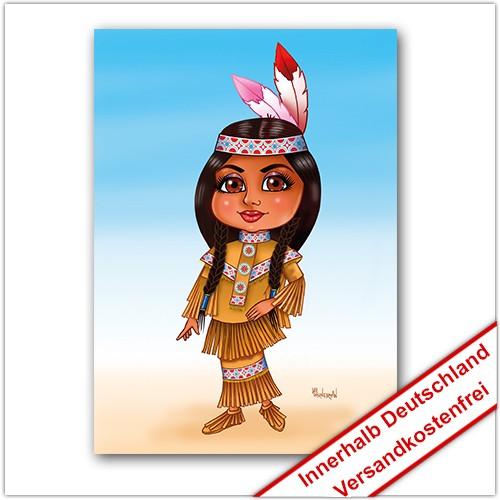 Leinwanddruck Motiv: Indianer Mädchen