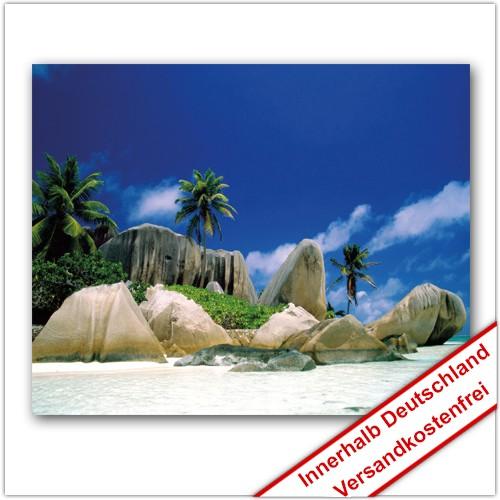 Leinwanddruck - Motive: Palmen Strand Felsen