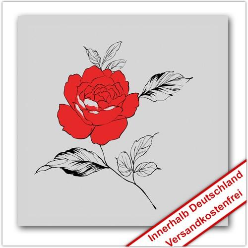 Leinwanddruck - Motive: Rose - Zeichnung 01