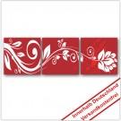 Leinwanddruck - Motive: Blumenranke - Rot - 3 Teiler