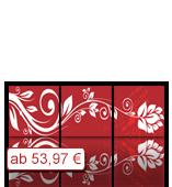 Leinwanddruck Blumen Motiv - Blumenranke Rot - 3 Teiler