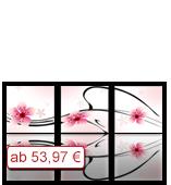 Leinwanddruck Blumen Motiv - Rosa Blüten - 3 Teiler